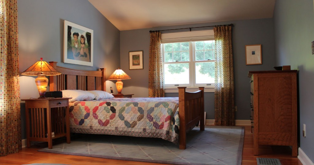 craftsman cherry furniture in custom bedroom
