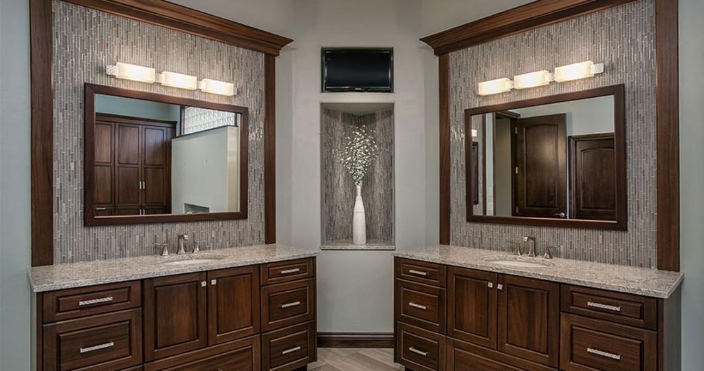 two separate vanities in master bathroom