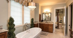Finish selection for this master bathroom remodel includes soaking tub, floor, wall and cabinet selection.