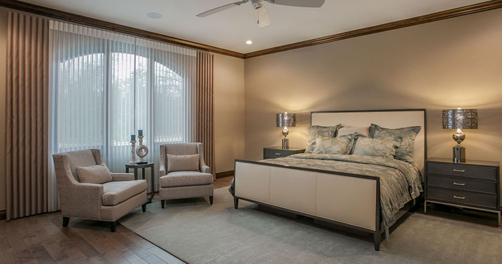 Swaim furniture and Hunter Douglas Luminette, master bedroom contemporary