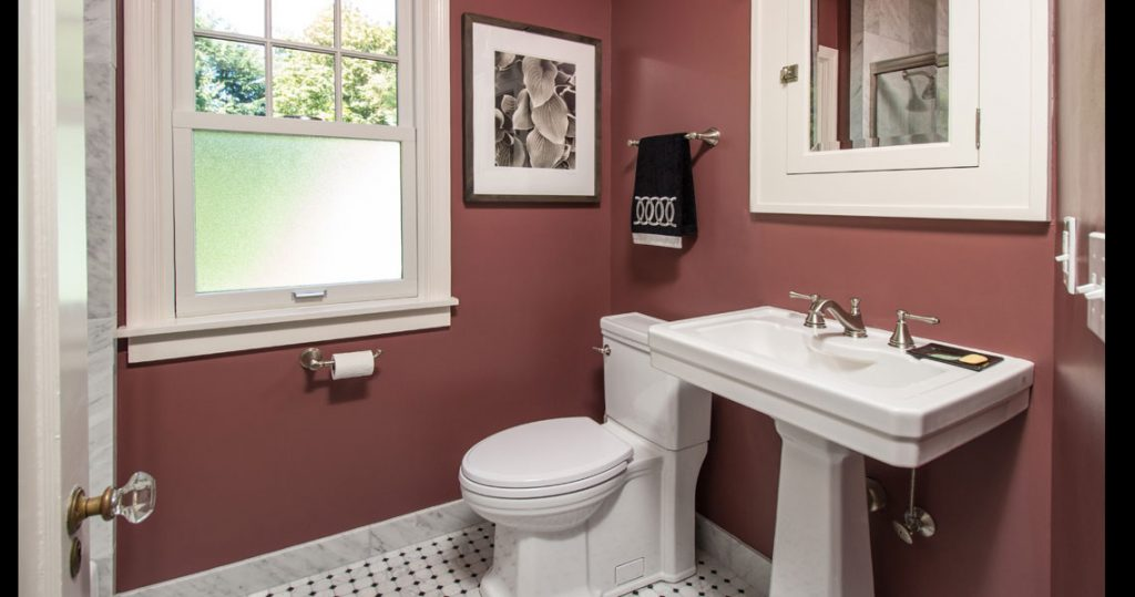 Small bathroom remodel with Calcutta Marble and pedestal sink