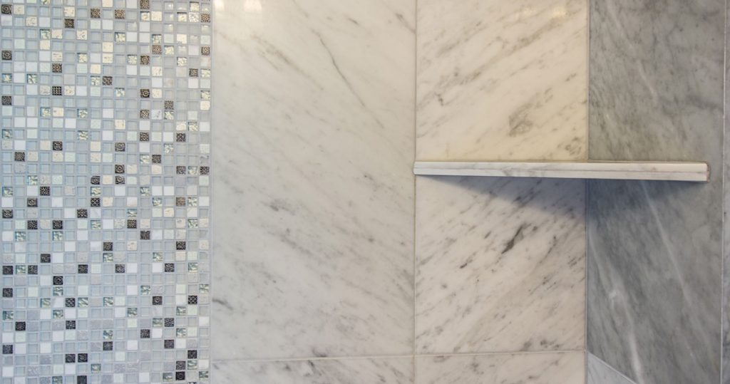 Shower marble tile with insert mosaic tile