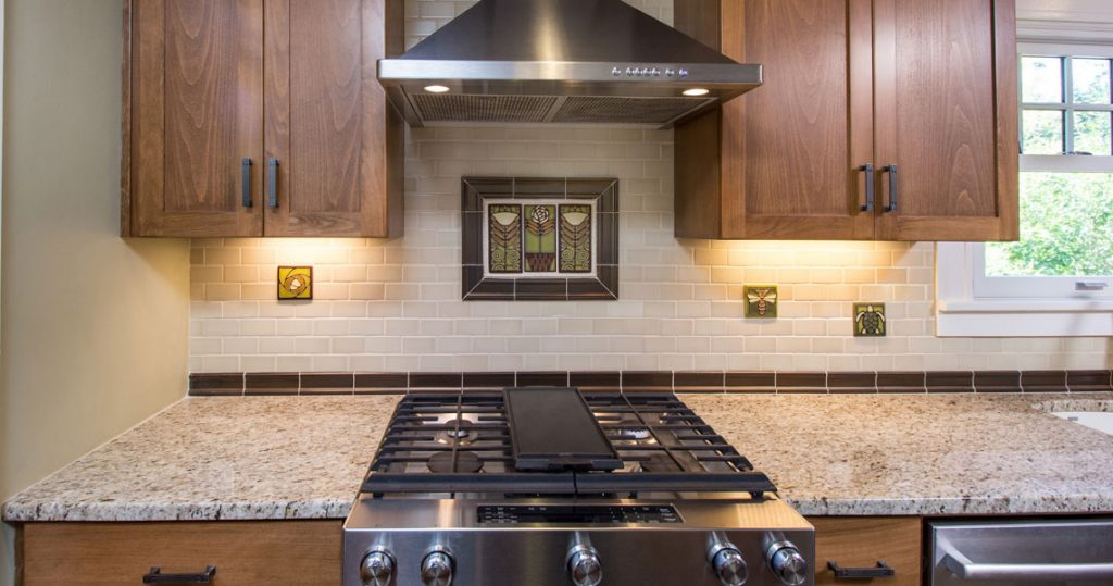 Stove backsplash tile accent in kitchen remodel