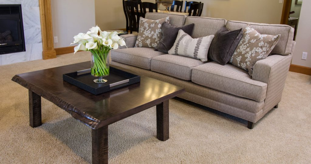 Sofa and coffee table in refreshed living room