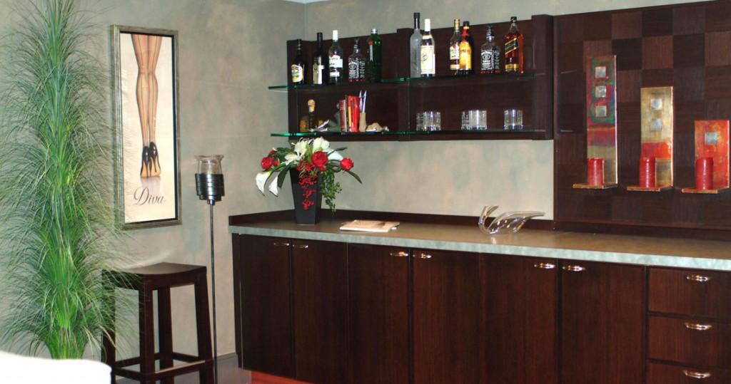 bar area of media room