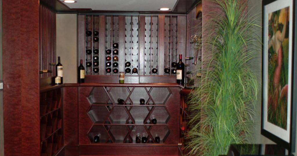wine storage of media room