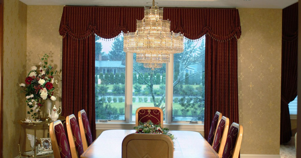Traditional formal dining, schonbek lighting, Kingston Valance and window panels