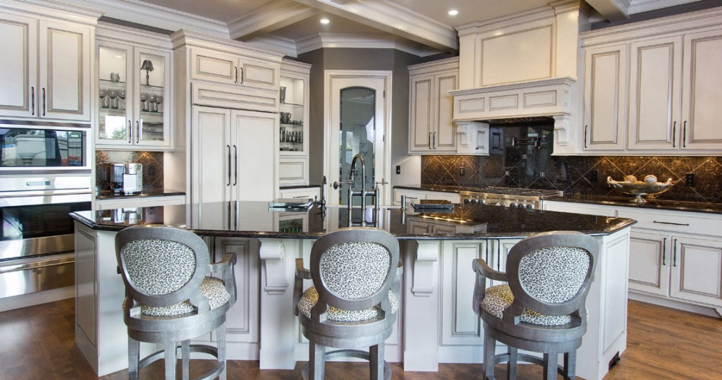 glazed wood cabinets in traditional kitchen, marge carson bar stools