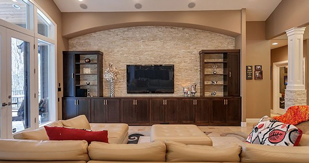 open floor plan for living area with tv