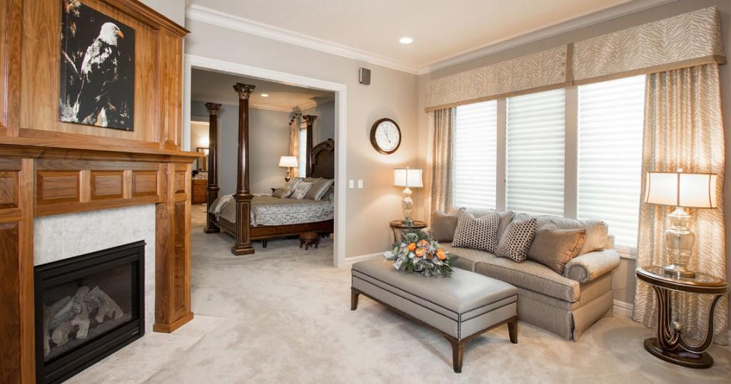 master sitting room, custom window valance and side panels