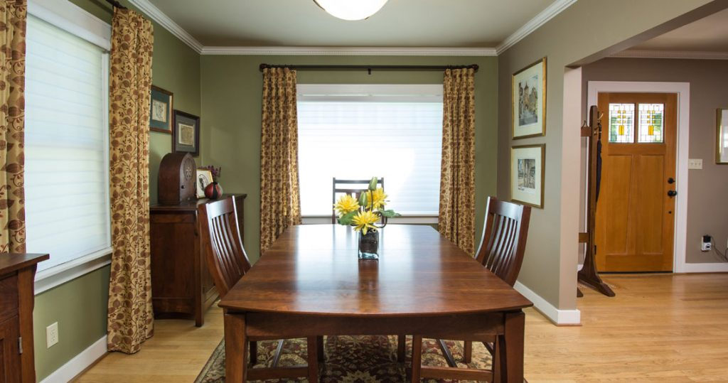 Dining Room with craftsman furniture, drapery panels, Hunter Douglas Silhouettes