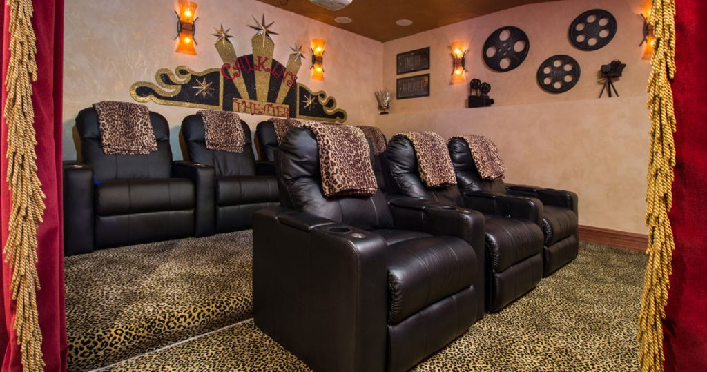 Motorized theatre chairs and leopard print carpet