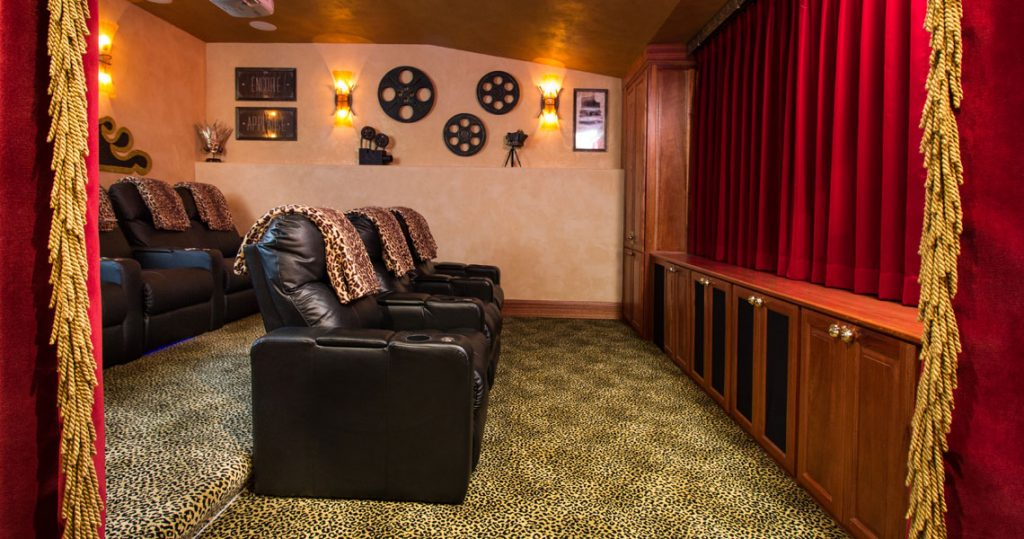 home theatre with motorized drapery panels