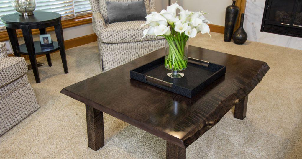 Harden live edge coffee table with cala lily flower arrangement