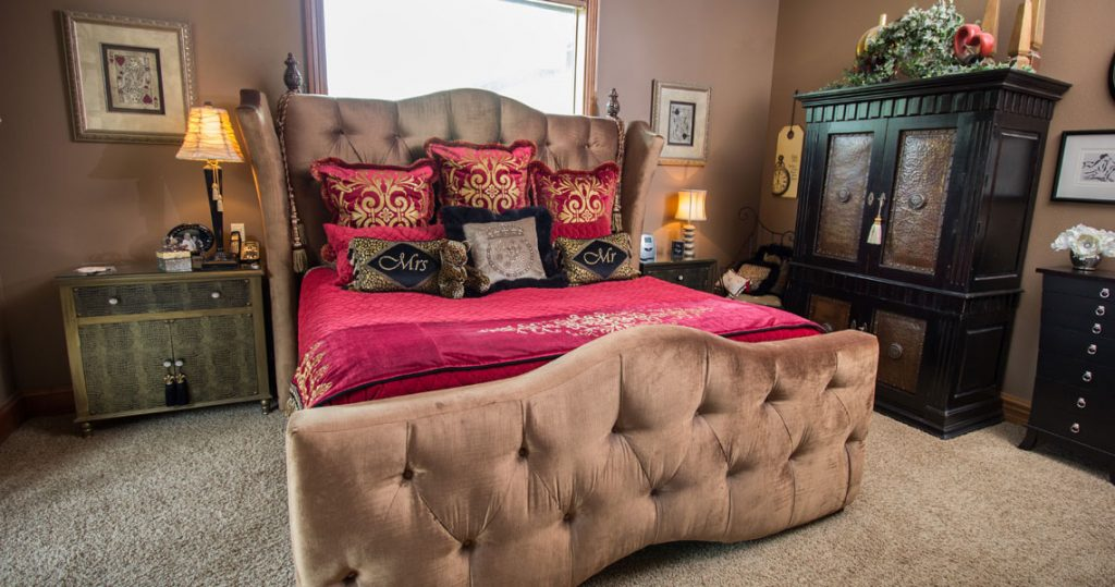 Master Bedroom with custom bedding for opulent setting