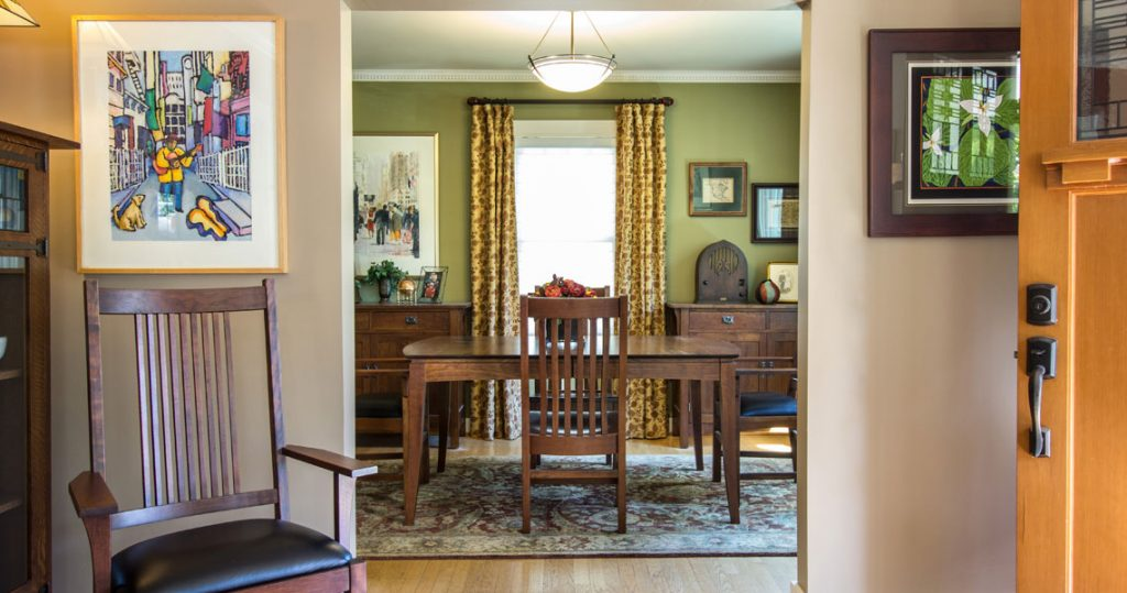 Dining room, craftsman furniture, drapery panels